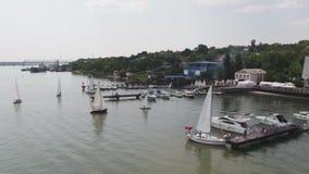 Żaglówki schronienie, wiele piękni cumujący żagli jachty w porcie morskim, nowożytny woda transport, lato wakacje zbiory wideo