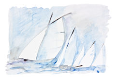 Żagle w morzu ilustracji