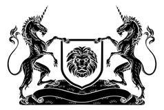 Żakiet ręka emblemata grzebienia jednorożec osłona Heraldyczna Obraz Stock