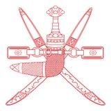 Żakiet ręki Oman royalty ilustracja