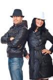 żakiety dobierają się kapelusz modną skórę Fotografia Royalty Free