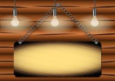 Żarówka iluminuje przypalającą drewnianą deskę ilustracja wektor