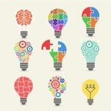 Żarówka - pomysł, kreatywnie, technologii ikony ustawiać Fotografia Royalty Free