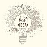 Żarówka robić handdrawn doodles, kreatywnie pojęcie Wektorowy pojęcie - twórczość i pomysł literowanie wycena kreatywnie ilustracja wektor
