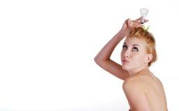 żarówki światła kobieta Zdjęcia Royalty Free