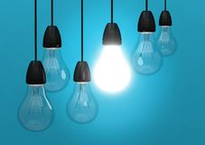 Żarówki światła pomysłu innowaci błękit Obraz Stock