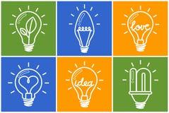 żarówki odizolowywający lekki biel Żarówki ikony set kreatywne światła żarówki elementy projektów zbierających zielony logo Obraz Royalty Free