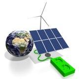 żarówki pojęcia energetycznego kwiatu zielonego światła odnawialny drzewo Zdjęcie Stock