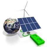 żarówki pojęcia energetycznego kwiatu zielonego światła odnawialny drzewo Zdjęcia Stock