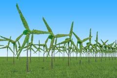 żarówki pojęcia energetycznego kwiatu zielonego światła odnawialny drzewo Drzewa w formie silników wiatrowych dalej royalty ilustracja