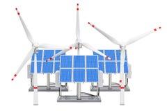 żarówki pojęcia energetycznego kwiatu zielonego światła odnawialny drzewo Panel słoneczny i silniki wiatrowi, 3D ren royalty ilustracja