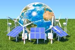 żarówki pojęcia energetycznego kwiatu zielonego światła odnawialny drzewo Panel słoneczny wokoło i silniki wiatrowi ilustracja wektor