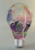 żarówki tło białe światła elektrycznego Obrazy Royalty Free