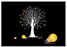żarówki zaświecają drzewa royalty ilustracja