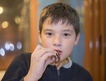 Żartuje łasowanie ośmiornicy z rękami i innym owoce morza w restauraci zdjęcie royalty free