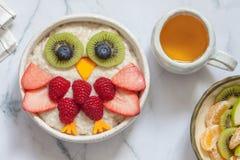 Żartuje śniadaniową oatmeal owsiankę Zdjęcie Royalty Free