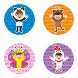 Żartuje ikonę z dzieciakami w zwierzęcym kostiumu Zdjęcia Royalty Free