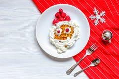 Żartuje menu Bożenarodzeniowych śniadaniowych gofrów odgórnego widok Zdjęcia Royalty Free