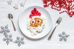 Żartuje menu Bożenarodzeniowych śniadaniowych gofrów odgórnego widok Fotografia Royalty Free