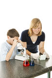 żartuje mikroskopu używać Zdjęcie Royalty Free