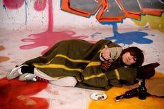 żeńscy graffiti drałują miastowego Zdjęcie Royalty Free