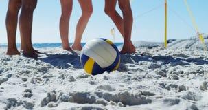 Żeńscy siatkówka gracze stoi na plaży 4k zbiory wideo