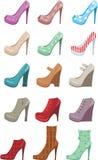żeńscy ustaleni buty ilustracji