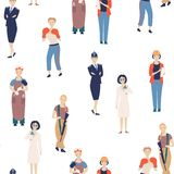 Żeńscy zawody Wzór od wymagających żeńskich zawodów, kreskówka charaktery naukowowie, policjant, żołnierz ilustracji