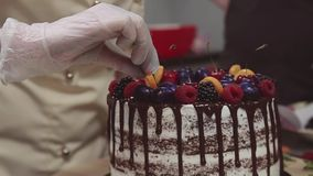 Żeńska cukierniczka dekoruje gąbka tort z owoc i jagodami zbiory