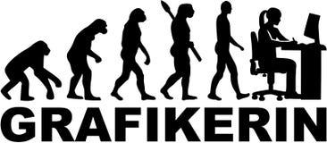 Żeńska graficznego artysty ewolucja - niemiec ilustracja wektor