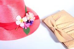 żeńska kapeluszowa czerwona słoma Fotografia Stock