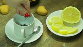 Żeńska ręka nalewa czarnej herbaty w białej filiżance Średni plan zbiory
