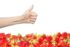 Żeńska ręka odizolowywająca na białym tle z jaskrawym czerwonym świeżym truskawkowym horyzontalnym poziomem Kciuk up Uprawy ilośc Zdjęcie Stock