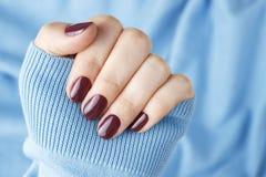 Żeńska ręka z purpurowym gwoździa połyskiem na błękitnym tle obraz stock