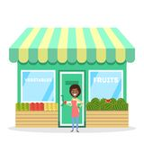 Żeńska sprzedawca pozycja przed owoc i warzywo sklepem royalty ilustracja