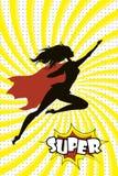 Żeńska Super bohatera sylwetka i tekst SUPER w retro komicznym wystrzale a ilustracji