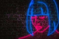 Żeńska twarz w menchiach i błękitnych neonowych światłach ilustracja wektor