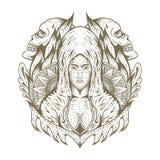 żeński czaszki dekoracji ręki remis ilustracji