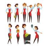 Żeński fachowy cleaner set, czyści firmy kreskówki wektoru drużynowe ilustracje ilustracji
