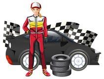 Żeński formuła jeden kierowca, samochód i ilustracja wektor