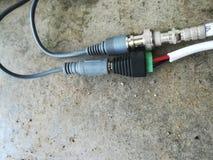 Żeński i samiec DC CCTV kamery bezpieczeństwa włącznik i adaptor obrazy stock