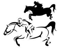 Żeński jeździec - skakać końskiego bocznego widoku wektor Zdjęcia Stock