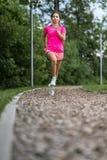 Żeński jogger na śladzie między drzewami zdjęcie stock