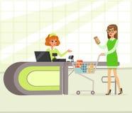 Żeński kasjer i nabywca płaci dla zakupów, młoda kobieta zakupy w supermarketa wektoru ilustraci ilustracja wektor