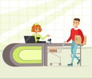 Żeński kasjer i nabywca z zakupami, młodego człowieka zakupy w supermarketa wektoru ilustraci ilustracji