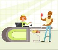 Żeński kasjer i nabywca z zakupami, młody amerykanina afrykańskiego pochodzenia mężczyzna zakupy w supermarketa wektoru ilustraci ilustracja wektor