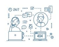 Żeński konsultant jest ubranym hełmofony z mikrofonu odpowiadania klientów pytaniami rysującymi z konturami na bielu ilustracja wektor