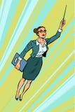 Żeński nauczyciel, bohatera latanie ilustracji