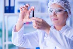 Żeński naukowa badacz prowadzi eksperyment w labora zdjęcia stock