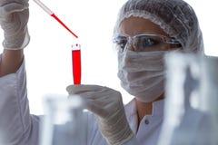 Żeński naukowa badacz prowadzi eksperyment w labora obraz stock